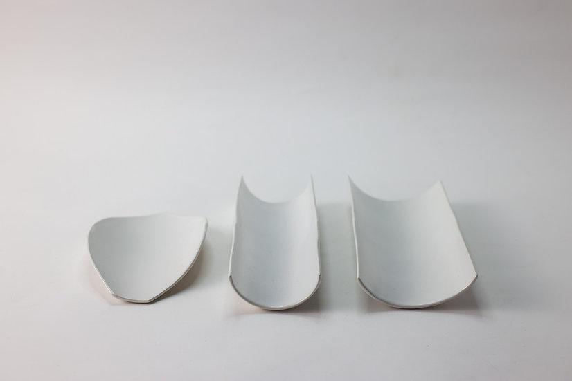 【中村豊実】茶則・白・木の葉型 / ストレート