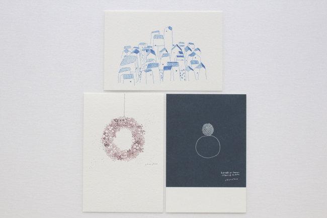 【しゅんしゅん】ポストカード「青い家々」/「wreath」/「白丸」