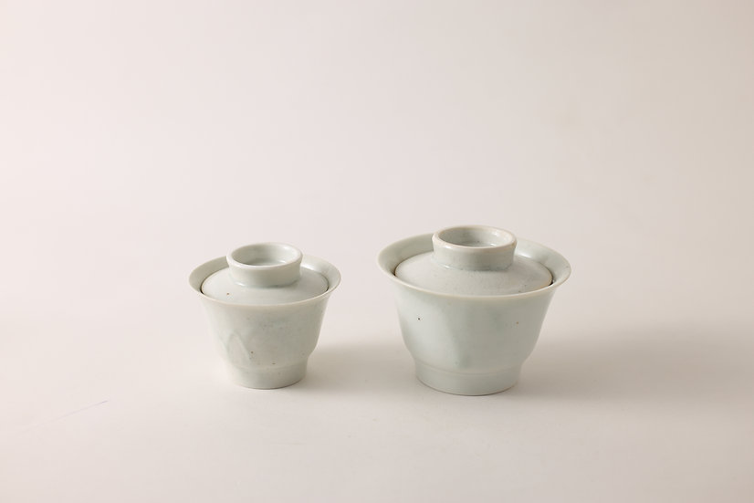 【竹下努】青白磁蓋碗・大/小