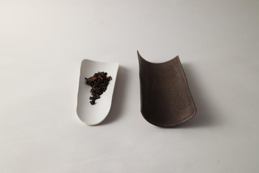 【中村豊実】茶則・白・ヘラ型/砂金釉茶則・ストレート