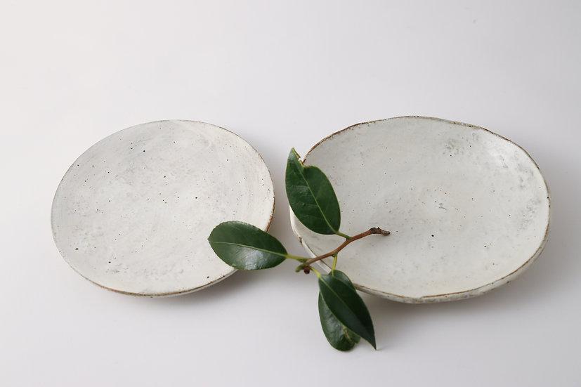 【花岡隆】刷毛目石目銘々皿/刷毛目石目楕円皿
