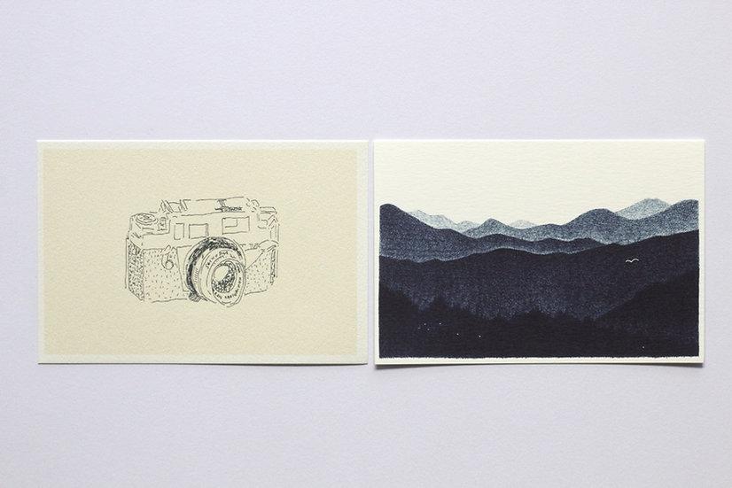 【しゅんしゅん】ポストカード「コニカカメラ」/「白と藍の森」