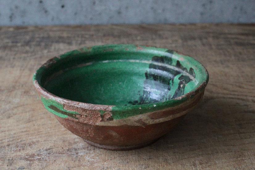 【古い道具】オランダ・19C・緑釉鉢