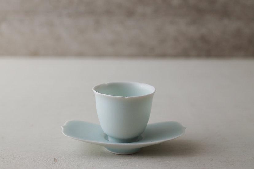 【村田匠也】青白磁輪花茶杯/青白磁翼果型茶托