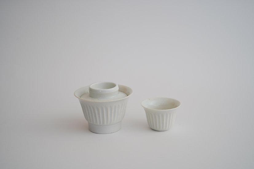 【竹下努】青白磁蓋碗/青白磁旅茶盃