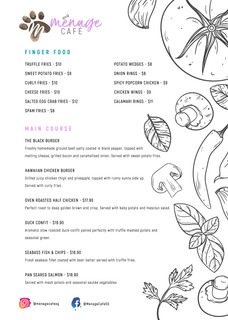Menage Cafe - 6-page menu design