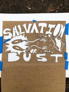 Salvation or bust stencil