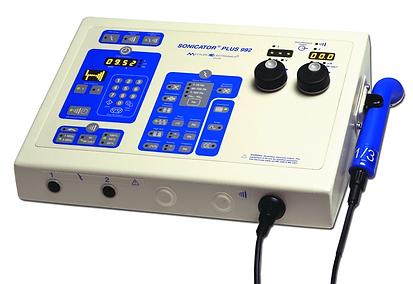 Unidad de terapia combinada Sonicator Plus 992 de 2 canales de electroestimulación y 1 canal de ultrasonido marca Mettler de venta en Bruce Médica