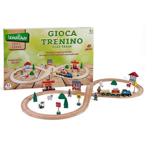 PISTA TRENO LEGNO 40PZ C/TRENO MAGNETICO/ACC