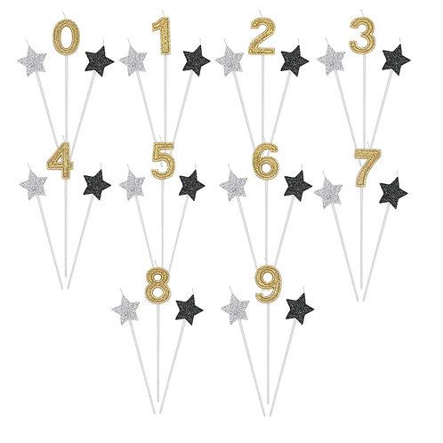 Candelina Compleanno Glitter Oro Argento Nero 3 candeline