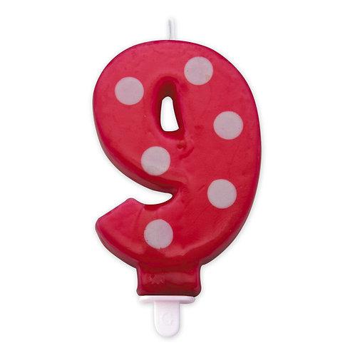 Candelina Pois Rossa 8,5 cm Numero 9
