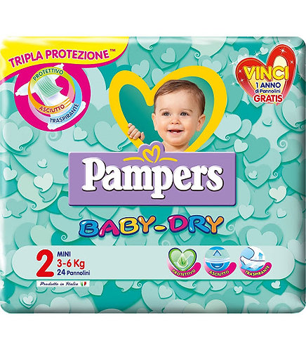 PAMPERS BABY DRY PANNOLINI TG. 2 MINI 3-6 KG