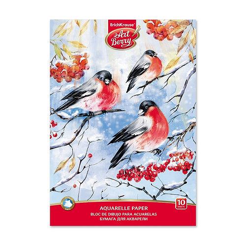 ALBUM DA DISEGNO CARTA PER ACQUARELLO EK ARTBERRY SNOWBIRDS, 10 FOGLI, A4