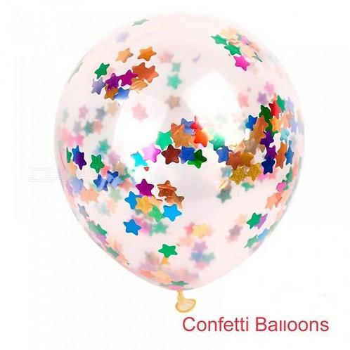 6 Palloncini Trasparenti con Coriandoli Multicolor Stella