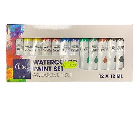 Set 12  Colori Tempera ad Acqua Tubetto 12 ml