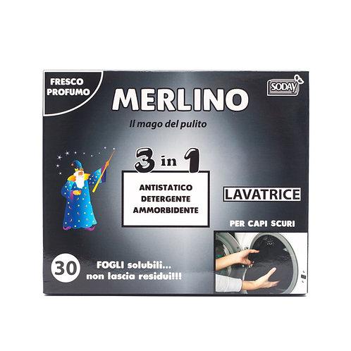 MERLINO DETERSIVO IN FOGLIETTI 3in1 CAPI SCURI