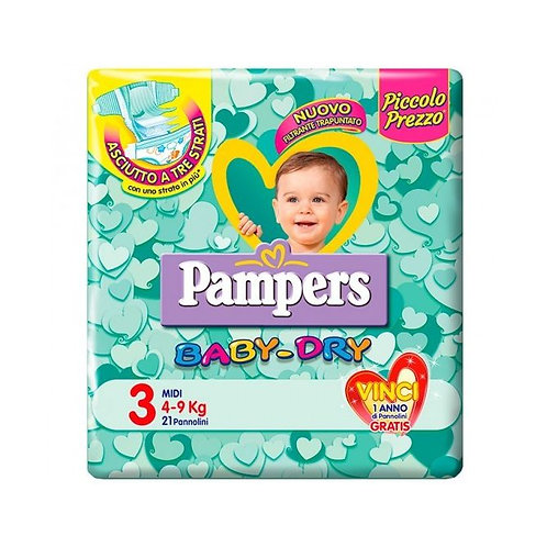 PAMPERS BABY DRY PANNOLINI TG. 3 MIDI 4-9 KG