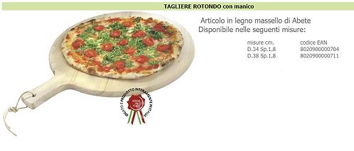 Tagliere per Pizza Rotondo con Manico in Legno Massello di Abete