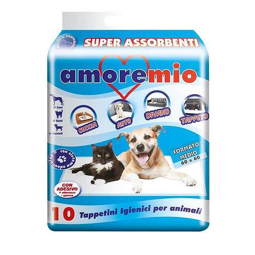 Tappetini Igienici Animali Super Assorbenti  60x60 cm10 pz Amore Mio