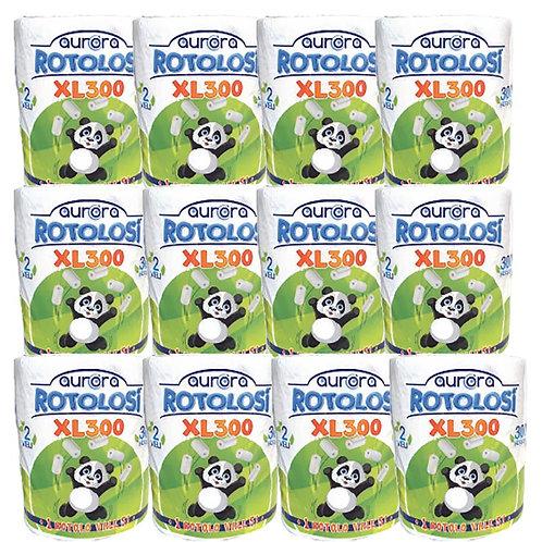 12 Confezioni di Rotolo Carta Asciugatutto ROTOLOSI AURORA XL300