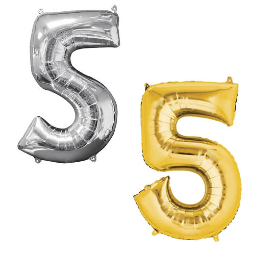 Palloncino Mylar N 5  102 cm Oro - Argento  Elio Aria Festa Compleanno