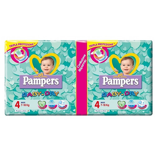 PAMPERS BABY DRY PANNOLINI TG. 4 MAXI 7-18 KG PACCO DOPPIO MAXI