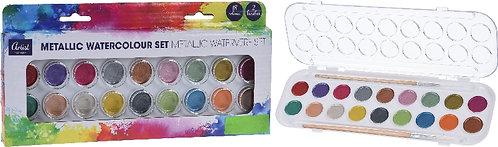 Set Colori ad Acqua 18 Colori - Acquarelli Metallizzati