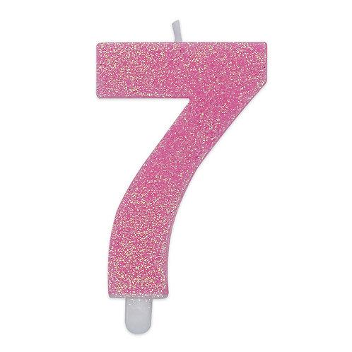 Candelina Sweety Rosa Glitter 9 cm Numero 7