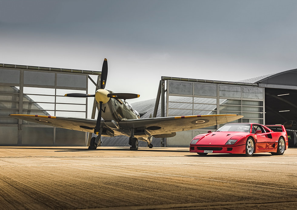 Ferrari F40 and a Spitfire
