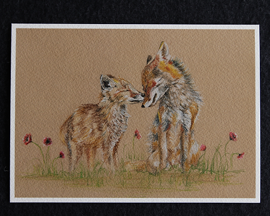 Fox Mother and Child Pastel Prints