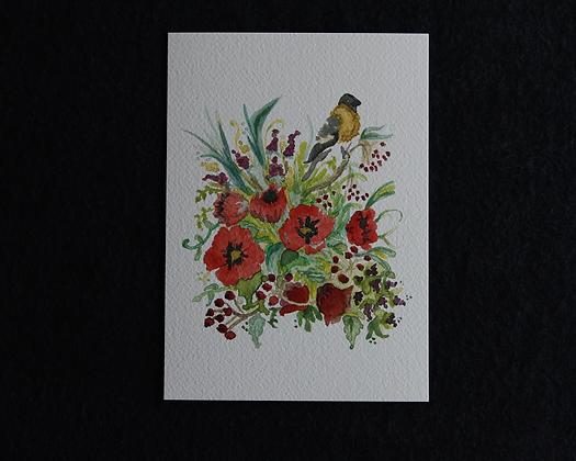 Bird Bouquet Watercolor Print