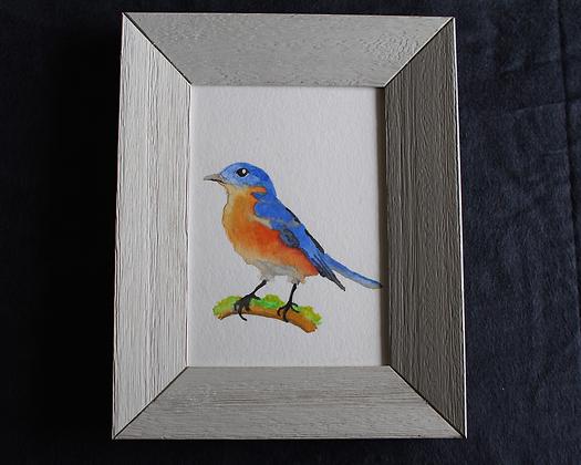 Bird on Moss Original in Frame