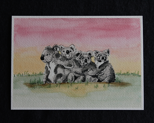 Koalas at Sunset Watercolor Prints