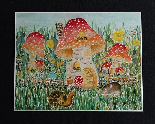 Mushroom Village Watercolor Prints