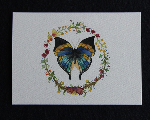 Butterfly Wreath Watercolor Print