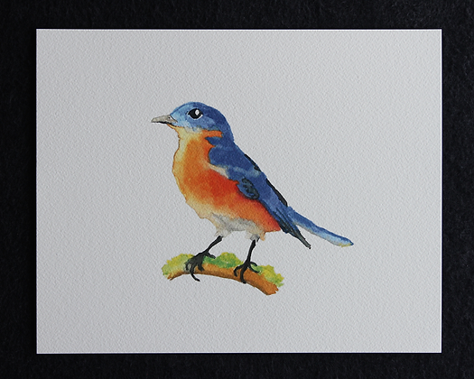 Bird on Moss Watercolor Print