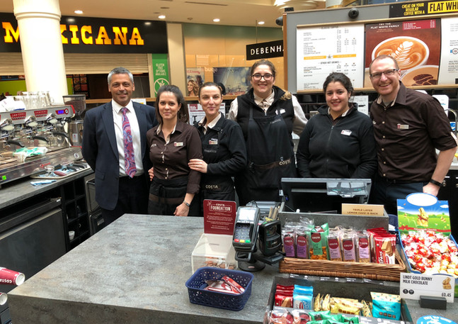 Costa Coffee MD Mr.Jason Cotta and Partnerships Director Mr. Jim Attwood in one of our Ilford Stores with the team