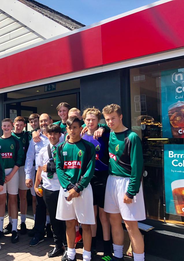 Hallmead school football team with their new sports gear in Upmister 2 - Sponsorship