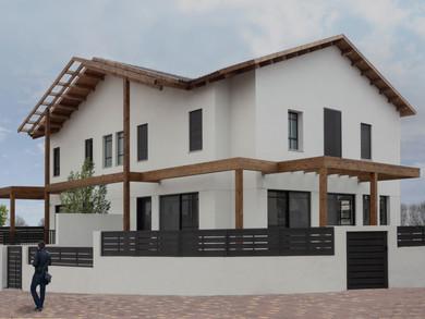 Location: Yahud Total floor area: 480 sqm Total site area: 500 sqm Program: Double family house Design & built: 2017-2020