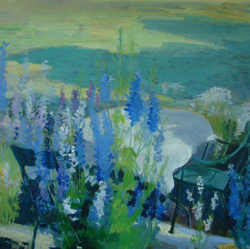 Larkspur in the Evening 40x40