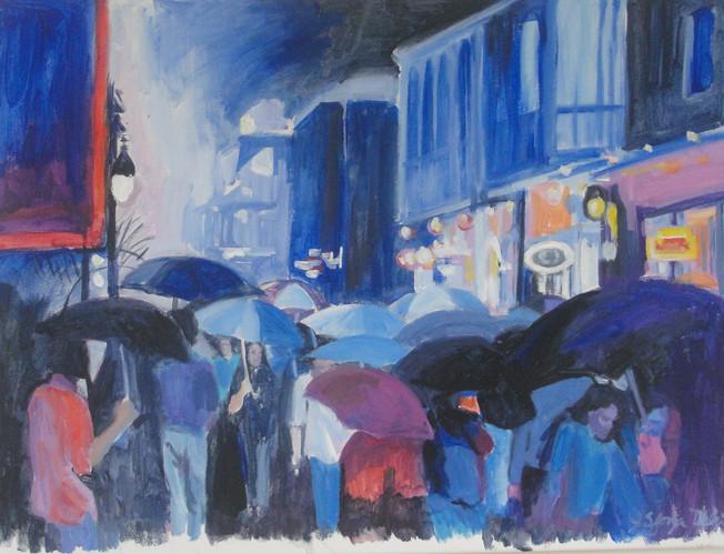 Revelers in the Rain 24x18