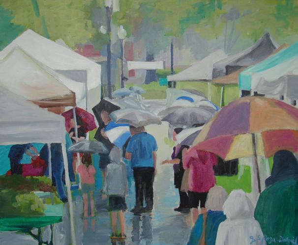 Farm Market in the Rain 24x20