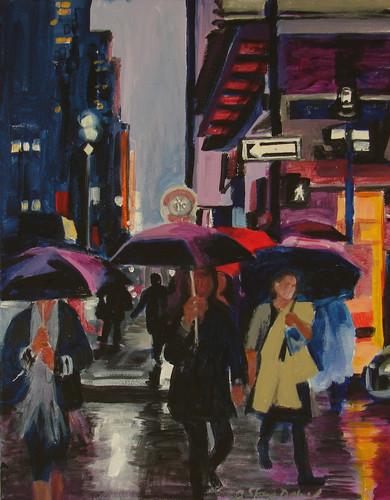 City in the Rain 16x20