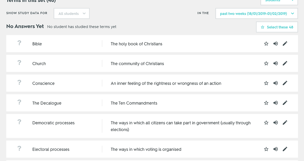 An example Religious Studies Quizlet set