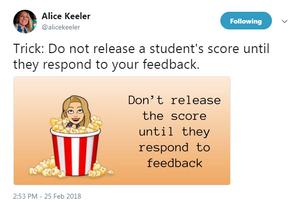 Alice Keeler tweet about feedback