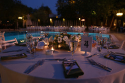 White color wedding table decorated with