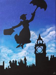 Adaptation of Disney's Mary Poppins  Original 9x12 Acrylic paint 2019
