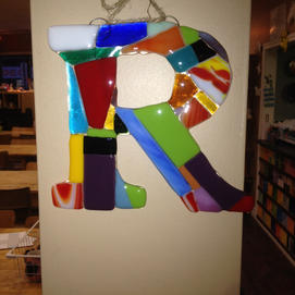 Initial Fused Glass Wall Plaque