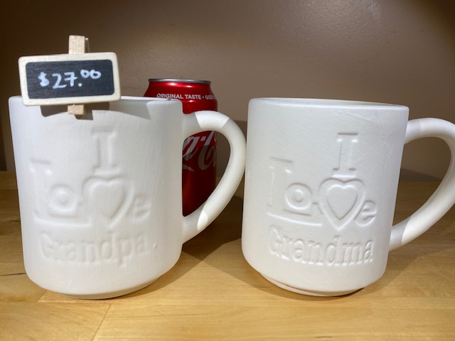 I LOVE GRANDPA/MA MUGS $27