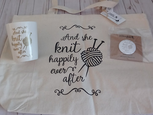 And she knit happily ever after tote bag, button, & coffee mug bundle